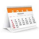 August 2015 desk calendar - vector