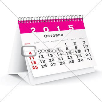 October 2015 desk calendar - vector
