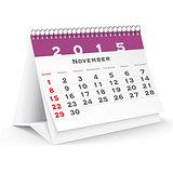 November 2015 desk calendar - vector