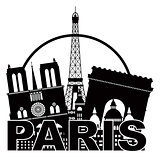 Paris City Skyline Silhouette Circle Black and White Illustratio