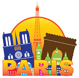 Paris City Skyline Silhouette Circle Color Illustration