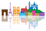 Paris City Skyline Silhouette Color Illustration