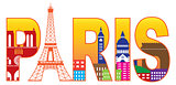 Paris City Eiffel Tower Silhouette Text Color Illustration