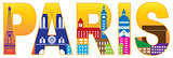 Paris City Skyline Silhouette Text Color Illustration