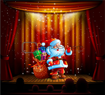 Santa Claus standing on a stage