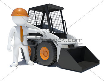 3d worker with construction loader