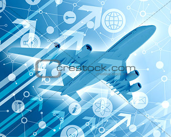 Airplane with background of app icons and arrows