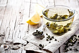 cup of green tea and lemon