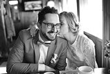 Black and white picture of happy wedding couple together.