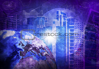 Skyscrapers and Earth. Hi-tech background