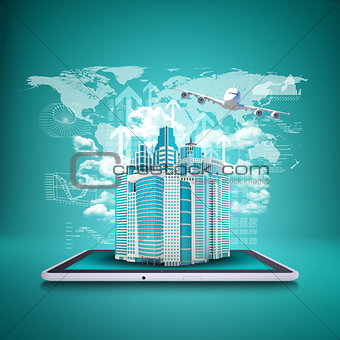 Airplane with background of skyscrapers on tablet