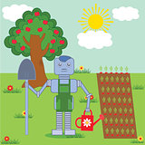 robot in the garden
