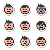 Man with moustache or mustache, avatar vector labels set