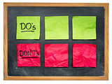 dos and donts on blackboard