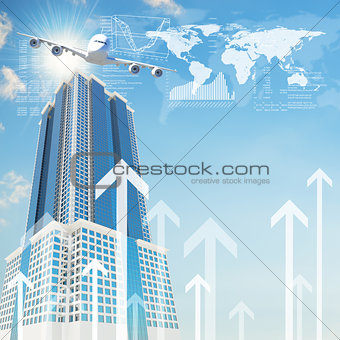 Airplane with background of skyscraper and arrows