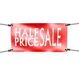 Banner half price sale with four ropes on the corner