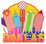 Dallas City Skyline Color Circle Illustration