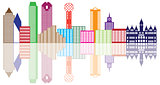 Dallas City Skyline Color Outline Illustration