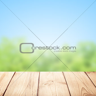 Old desk and nature background