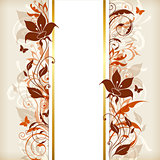 Vertical banner with orange and brown flowers