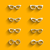 Flat design eyeglasses vector set with shadows