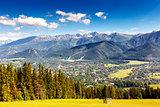 City of Zakopane and Tatras seen from the distance