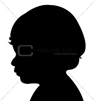 a baby boy head silhouette vector