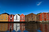 Colorful houses on the water, Trondheim, Norway