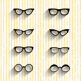 Flat design eyeglasses vector set with shadows on grunge stripes