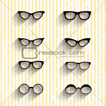 Flat design eyeglasses vector set with shadows on grunge stripes