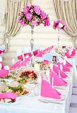 Wedding Table Decorations in pink and white colors