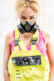 Female in respirator