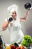 Woman cook wearing uniform posing indoors