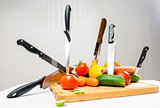 Vegetables and knifes, weight loss concept