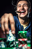 Cheerful poker player