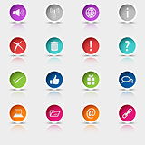 Colored set round web buttons element