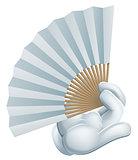 Hand holding paper fan