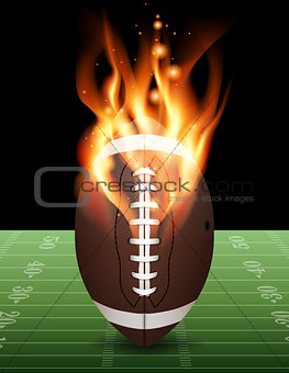 American Football on Fire Illustration