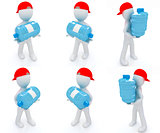 Set of 3d man carrying a water bottle with clean blue water