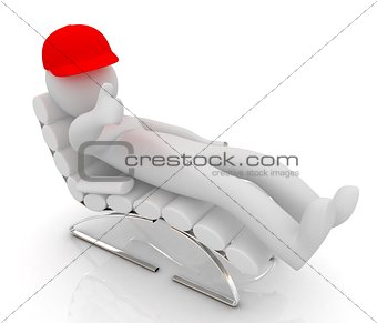 3d white man lying chair with thumb up