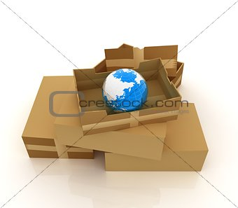 Cardboard boxes and earth