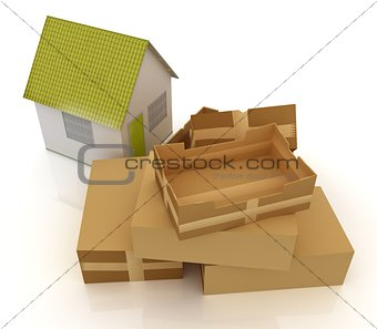 Cardboard boxes and house