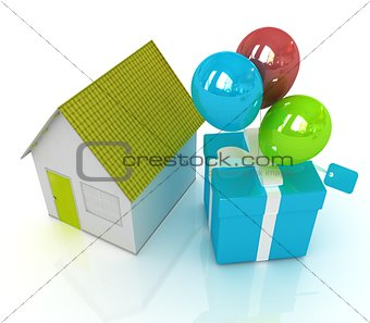 House with gift and ballons