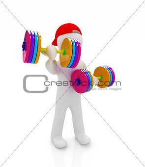 3d man with colorfull dumbbells