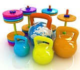 Colorful weights and dumbbells and earth. Global