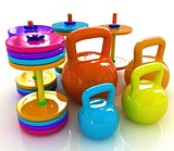 Colorful weights and dumbbells