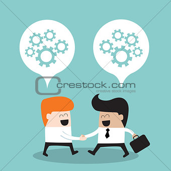 Business people shaking hands and thinking about their partnership