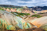 Scenic landscape view of Landmannalaugar colorful volcanic mount