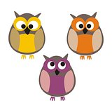 Owls vector illustration isolated on white background