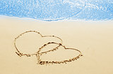 hearts on the sand